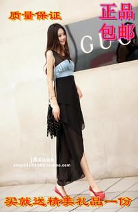 2013 denim chiffon one-piece dress shoulder strap slim irregular sweep vest design full dress