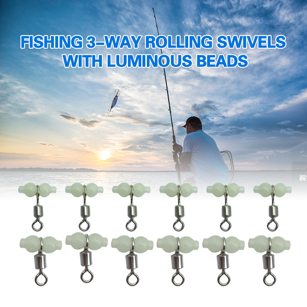 12Pcs Fishing 3 Way Rolling Swivel T-shape Cross-line Connector with Luminous Beads Sea Fishing Accessories Tackle(China)