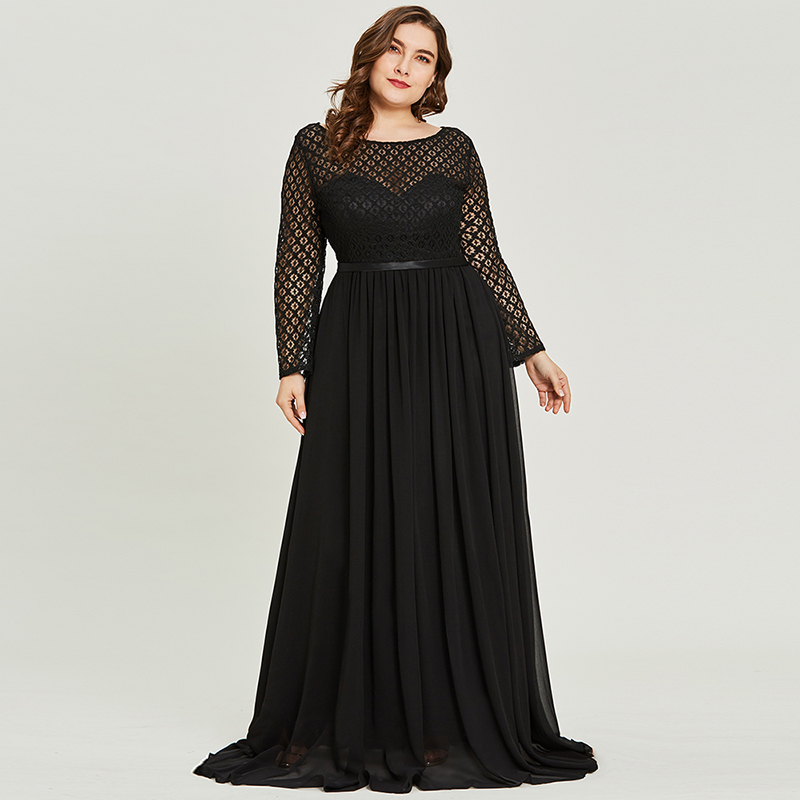 Tanpell Scoop Neck Lace Evening Dress Black Full Sleeves Floor Length A Line Gown Women Party Prom Formal Long Evening Dresses