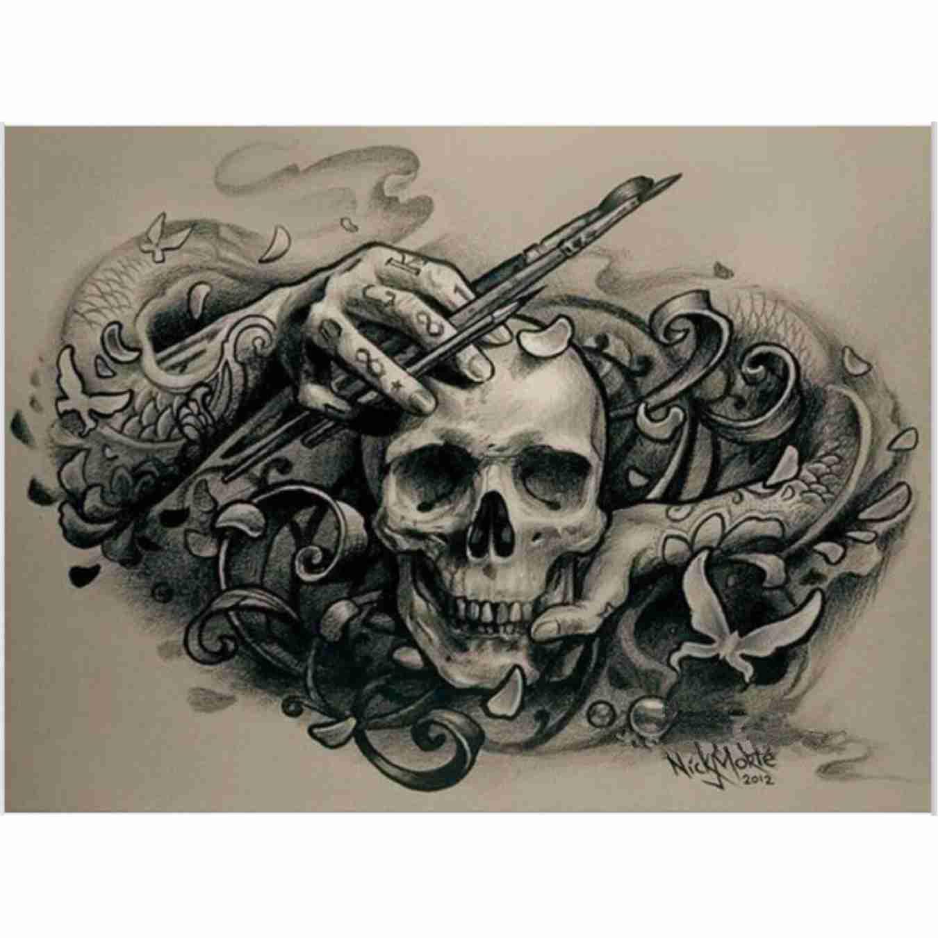 Skull 5D DIY Full Diamond Paint Needlework Broderi Round Rhinestone - Konst, hantverk och sömnad