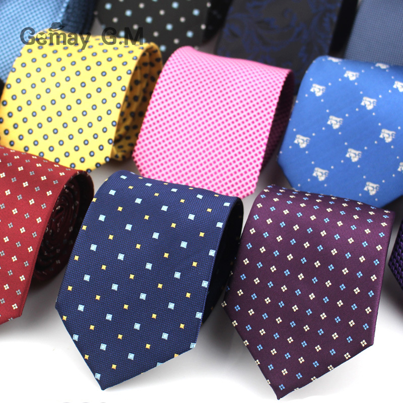 Classic Men Ties For Business Formal Wedding Necktie For Men 8cm Stripe Dots Neck Tie Fashion Suits Neckwear Jacquard Tie