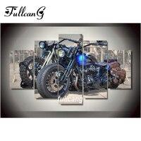 FULLCANG Diy 5d Diamond Painting Motorcycle Full Square Diamond Embroidery Pattern Diamond Mosaic Cross Stitch 5pcs