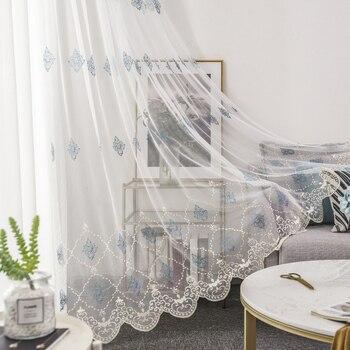 Европейский стиль вышитые кружевные прозрачные Занавески Тюль оконные шторы для кухни гостиной спальни белая вуаль для кафе M068 #4