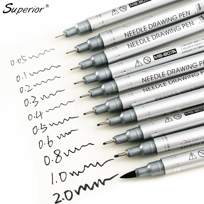 Superior 10Pcs Black Micron Neelde Drawing Pen Waterproof Pigment Fine Line Marker Pen For Writing Hand-Paint Anime Art Supplies