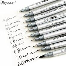 Superior 10 pçs preto micron neelde caneta de desenho à prova dwaterproof água pigmento linha fina marcador caneta para escrever mão-pintura anime arte suprimentos