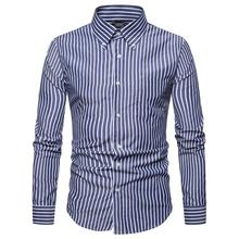 Long Sleeve Shirts men Camisa masculina Slim fit Formal Striped Mens Dress Lapel Blouse Men Red Blue Gray