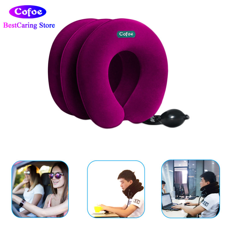 Inflatable Neck Traction Collar Soft Cervical Stretching Device Air Cervical Pillow 3 Layers for Neck&Shoulder Pain Relief Brace new household cervical collar neck brace air traction therapy device relax pain relief neck support fixture neck traction brace