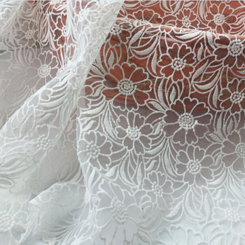 New Arrival White Embroidery Net African Lace Fabric Organza For Wedding Clothing Dress High Quality  French Mesh Lace
