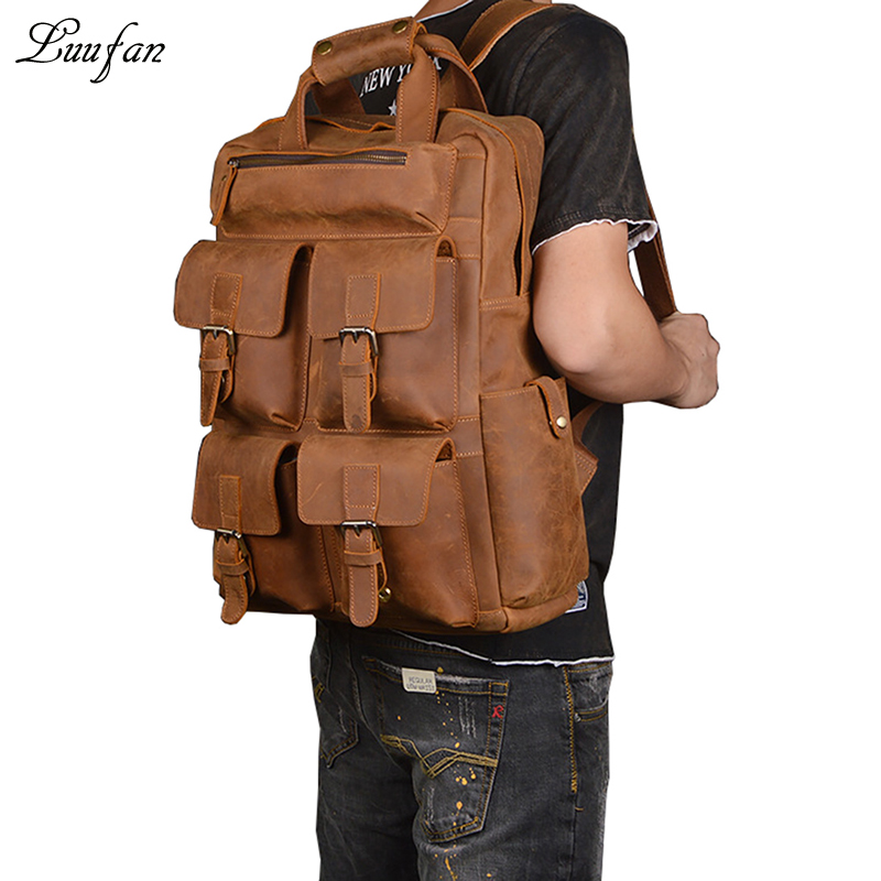 "Men's crazy horse Leather backpack fit 17"" Laptop Brown"