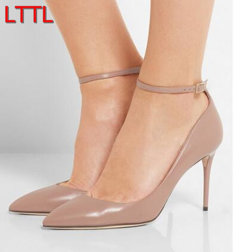 2017 shoe New Women Wedding Shoes Pointy Toe Pumps Ankle Strap Classics High Heels Khaki Nude Pumps Thin Heels Dress Shoes new 2017 high quality women pumps nude color sexy basic pointy toe stilettos high heels wedding shoes thin heels suede shoes