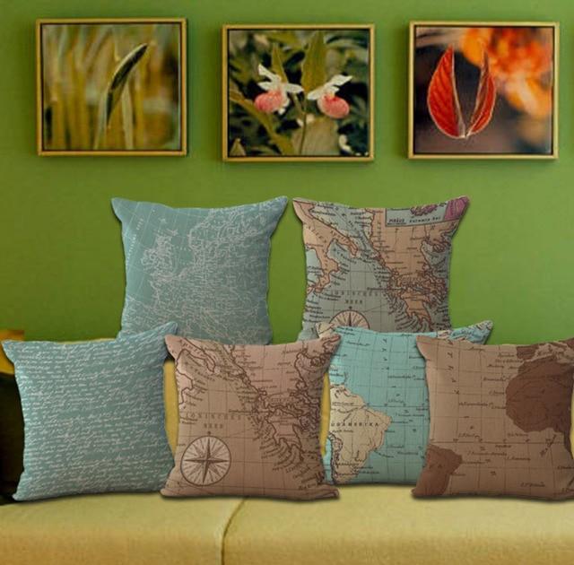 pop art world maritime map emoji throw pillow decorative massager Diy Pillow Decor