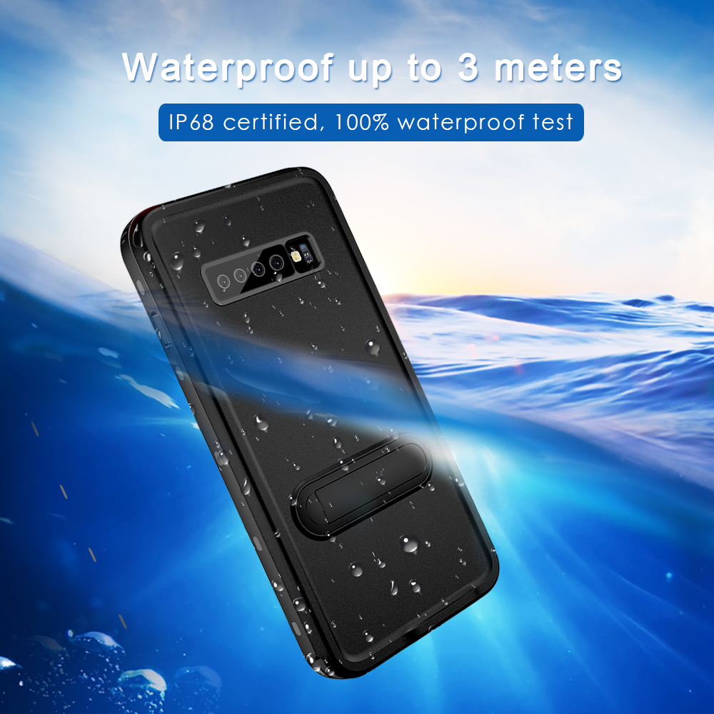 Case For Samsung Galaxy S10 Coque Swimming IP68 Waterproof 360 Degree Full Kickstand Cover For Samsung S10 Plus Phone Case Coque in Fitted Cases from Cellphones Telecommunications