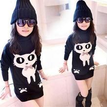 2016 осень детская одежда девушки длинный отрезок пальто кот высокий воротник сгущает руно девушка пуловеры пальто для девочек детей топы