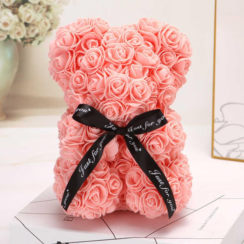HOT Valentijnsdag Geschenk 25cm Rode Roos Teddybeer Rose Bloem Kunstmatige Decoratie Kerstcadeaus Vrouwen Valentines Gift