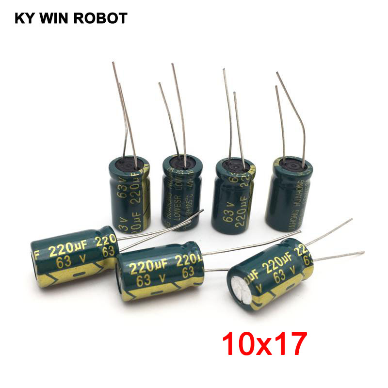 10PCS <font><b>63V</b></font> <font><b>220UF</b></font> 10x20mm 105C Radial high frequency low impedance aluminum electrolytic capacitor <font><b>220uf</b></font> <font><b>63v</b></font> image