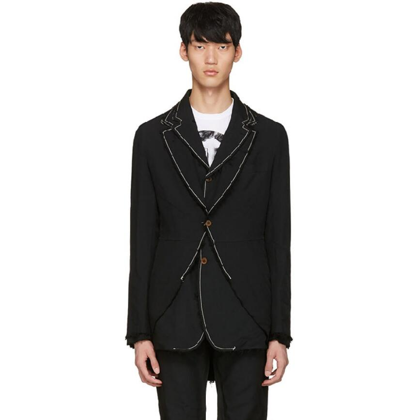 Men Suit Jacket Tuxedo Coat Double Layer Collar Stitching Casual Loose Blazers Personality Irregular Rear Split Original S-5xl