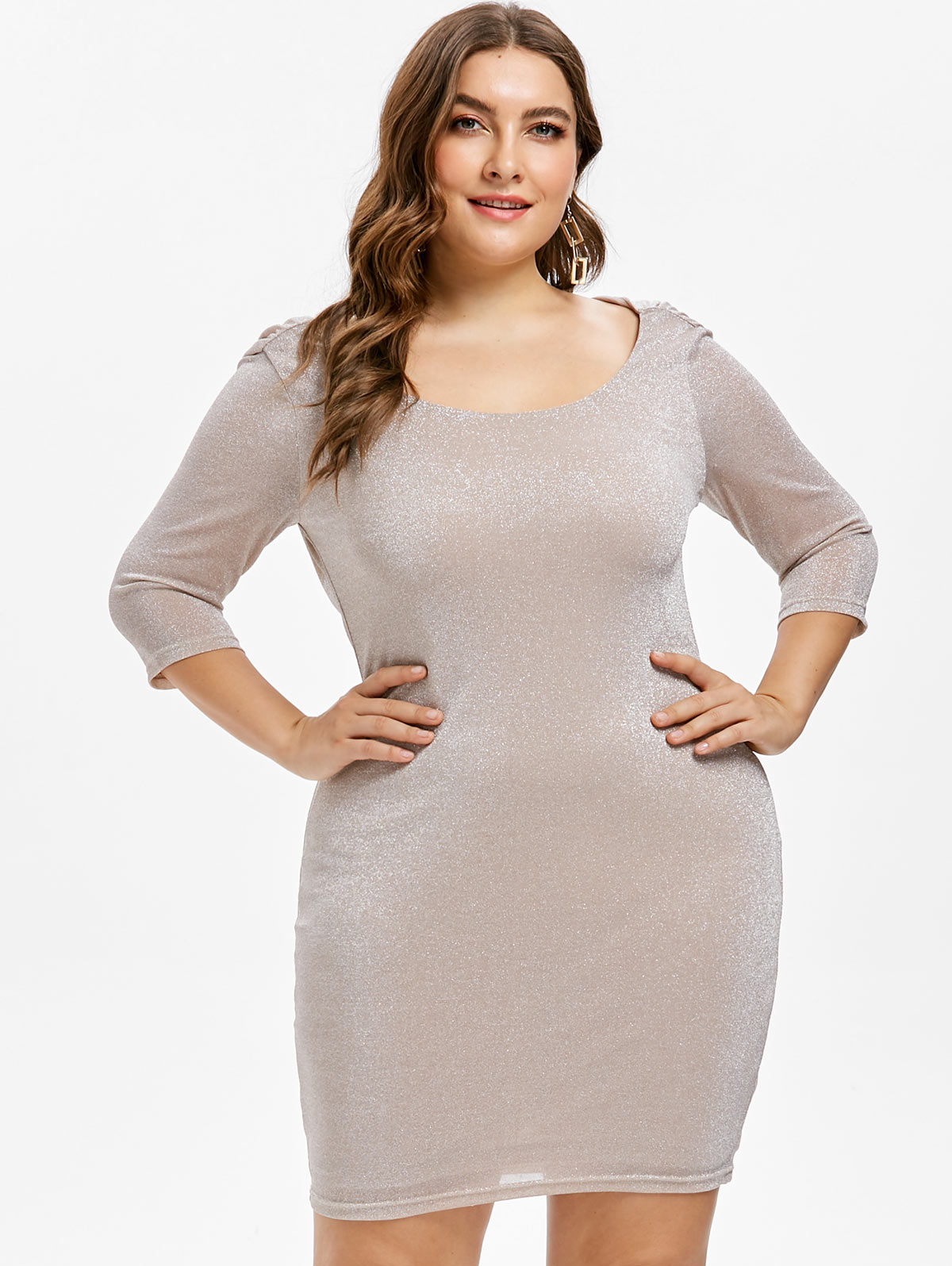 Detail Feedback Questions about Kenancy Plus Size 5XL Slim Fit Mini Glitter  Dress O Neck Three Quarter Sleeves Backless Slim Package Bodycon Dress Mini  ... 683cf77b017f