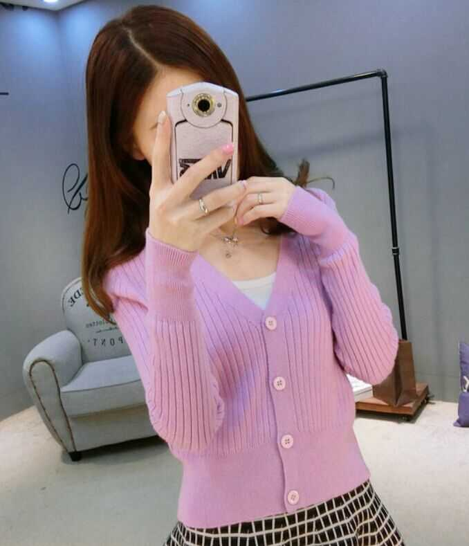 Autumn and winter sweater female cardigan thin slim solid color cashmere short design long sleeve sweater