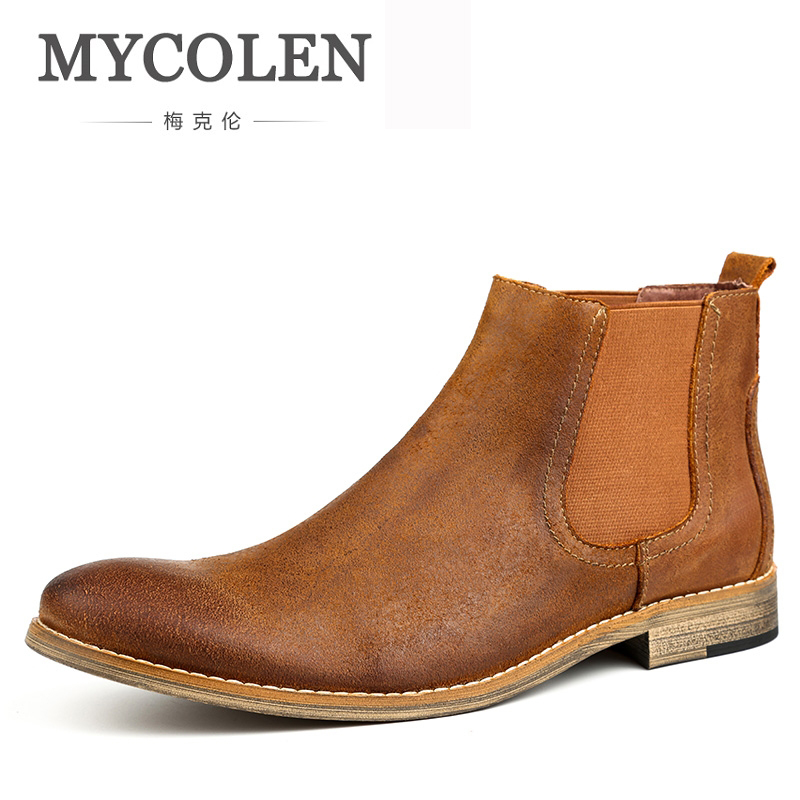 MYCOLEN Sping Autumn New Fashion Boots Genuine Leather Sewing Thread Men Ankle Boots Britain Style Shoes Leather Men Boots mycolen men boots genuine suede comfort leather sewing minimalist design black thread men ankle boots leather male shoes adult