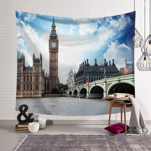 Image 5 - CAMMITEVER Greece Blue White Town European Culture Holiday Tapestries Beautiful Scenery Hippie Wall Hanging Tapestry Home Decor