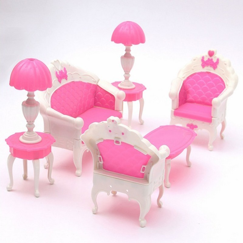 6pc/set New Mini Pink Kids Baby Girls Cute Toy Pinks Doll Furniture ...
