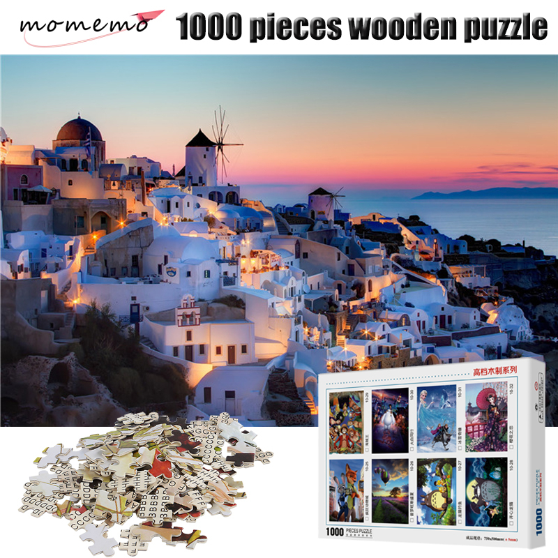 MOMEMO Nightscape Puzzle 1000 Pieces Wooden Beautiful Figure Jigsaw Adult Puzzles Decompression Toys