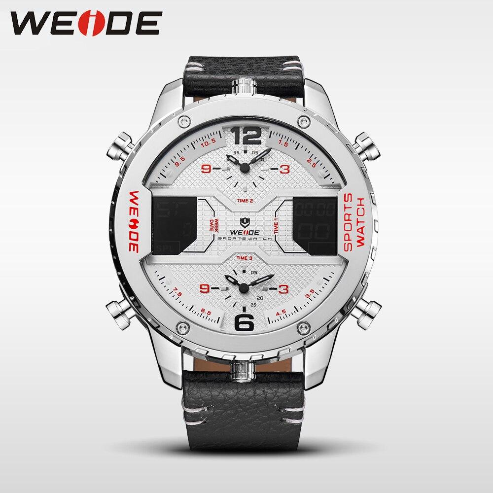 WEIDE décontracté véritable marque de luxe 2017 top nouvelle montre quartz hommes en cuir sport montres LED étanche numérique réveil blanc