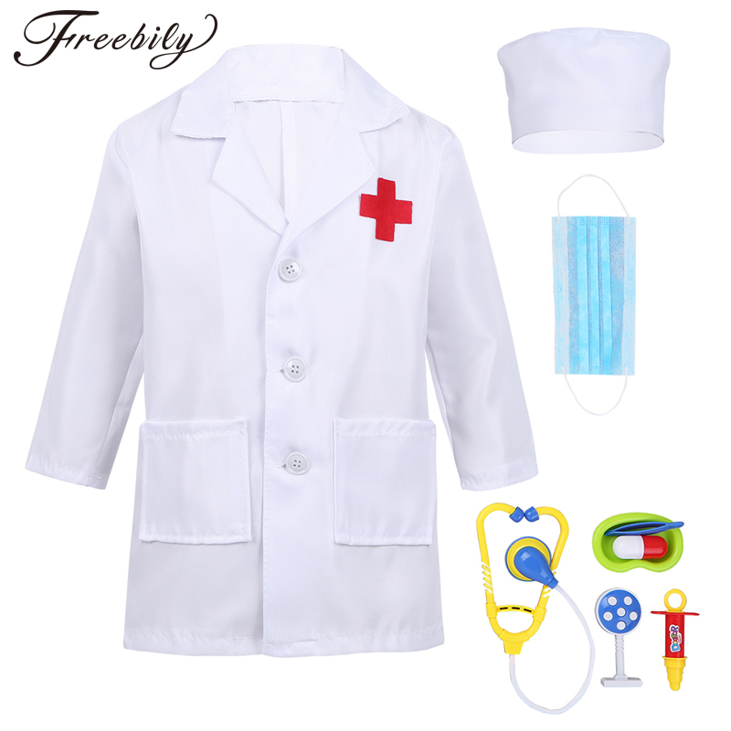 Children Cosplay Doctor Costumes Halllween Party Nurse Wear Fancy Boys Girls Clothing Set Toys Kids Jackets Roleplay
