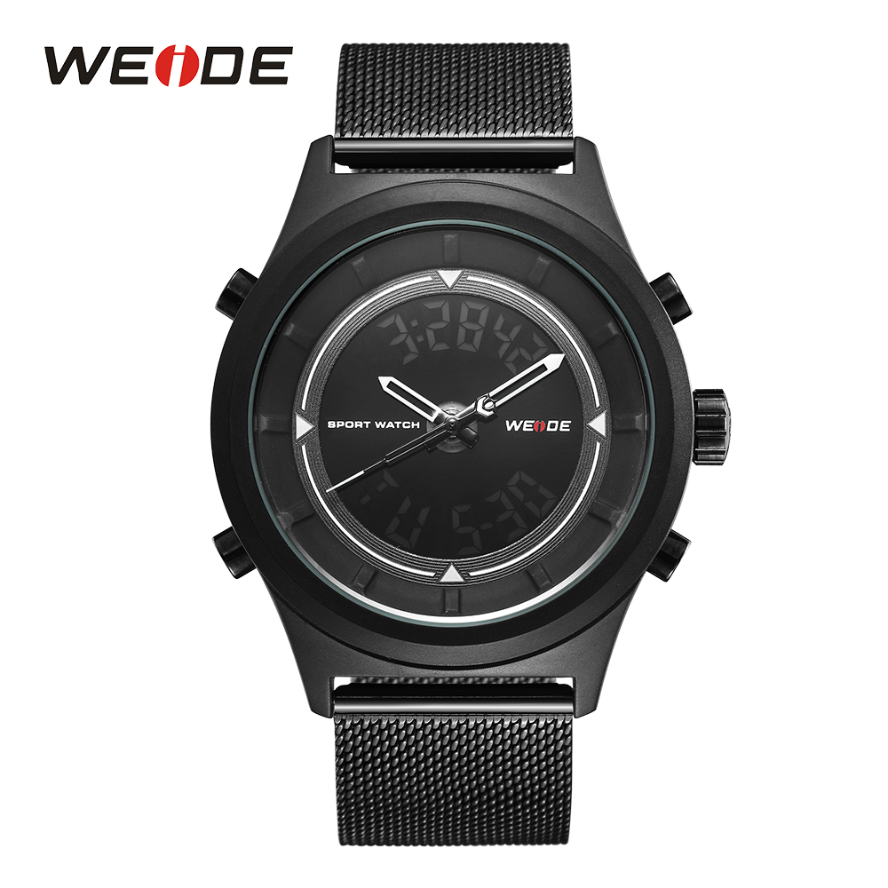 WEIDE saatler Quartz Men Watches LED Display Sport Army Quartz Black Stainless Steel Strap WristWatch relogio masculino horloges цена