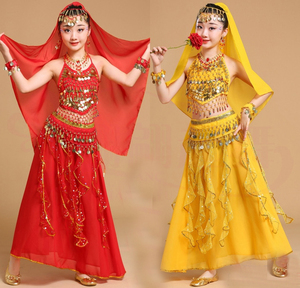 Image 3 - 5pcs Kid Belly Dancing Girls Belly Dance Costumes Children Belly Dance Girls Bollywood Indian Performance Dancewear Clothing Set