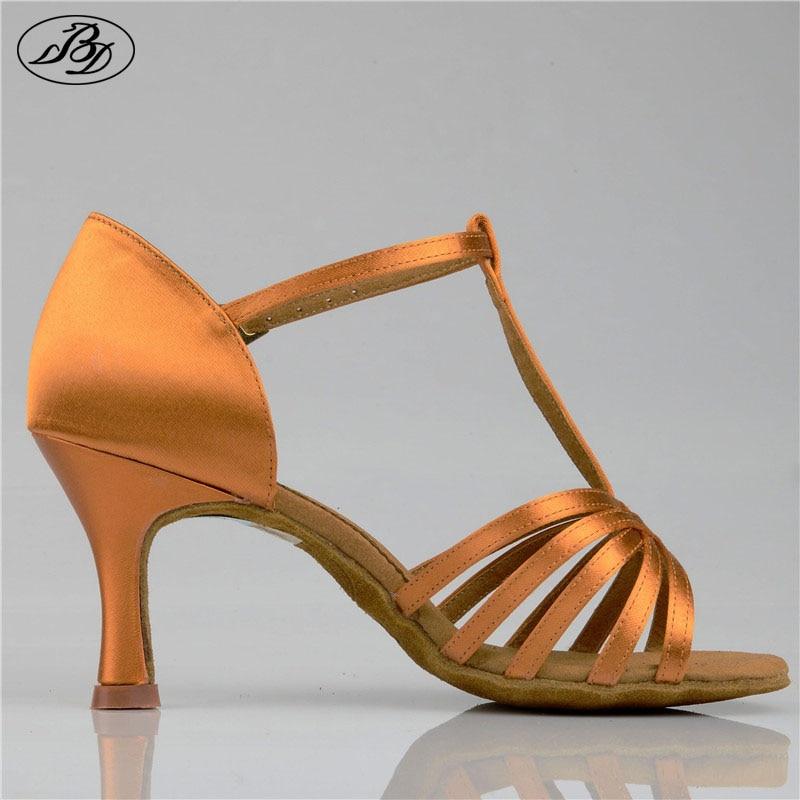 Women Latin Dance Shoes BD 217 Dark Tan Satin High Heel Ladies Ballroom Dance Flared Slim Heel Women Sandal Dancesport