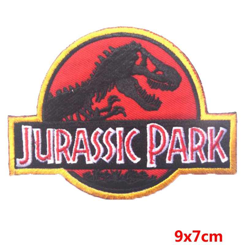 Prajna 2018 s1 Filme Remendo Crânio Gótico Jurassic Park Dinossauro Jurássico Mundo Patch Bordado Ferro Em Patches Para Roupas