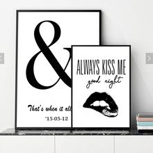 Always Kiss Me Canvas Art Print Poster, Minimalism Black Lip Wall Pictures for Home Decoration, Customize Wall Art Decor