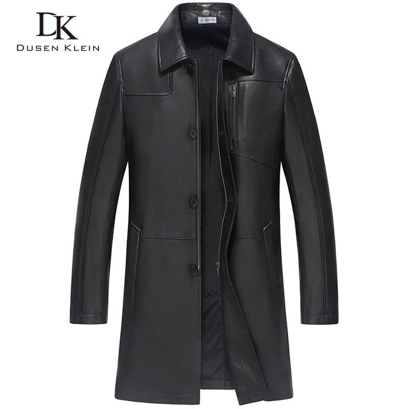 2017 New Dusen Klein Men leather coat Mid long style Genuine Leather sheepskin Spring Outerwear black