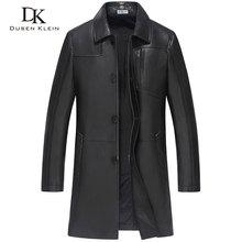 2017 Nouveau Dusen Klein Hommes en cuir manteau Mi-style long Véritable peau de mouton En Cuir Printemps Survêtement noir de luxe veste 61J8636