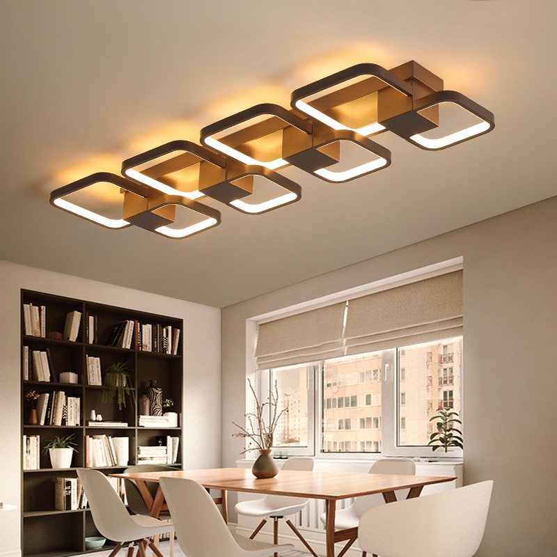 Coffee Color Dimmable RC Led Chandelier For Living Room Bedroom Study Room rectangle 110V 220V Modern Led Chandelier Fixtures designer coffee color modern led chandelier kitchen living dinging room light fixtures led hanging chandelier