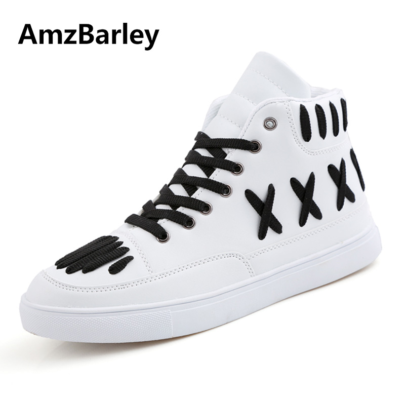AmzBarley Men Shoes Lace Up Flats Shoe High Top Hip Hop Leather Casual White Walking Man New Arrivals Spring Fashion high quality men casual shoes fashion lace up air mesh shoe men s 2017 autumn design breathable lightweight walking shoes e62