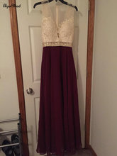 Real Photo Cap Sleeves V-NeckChiffon Burgundy Prom Dresses Sheer Tulle Floor Length Graduation Dress Evening Formal Gown