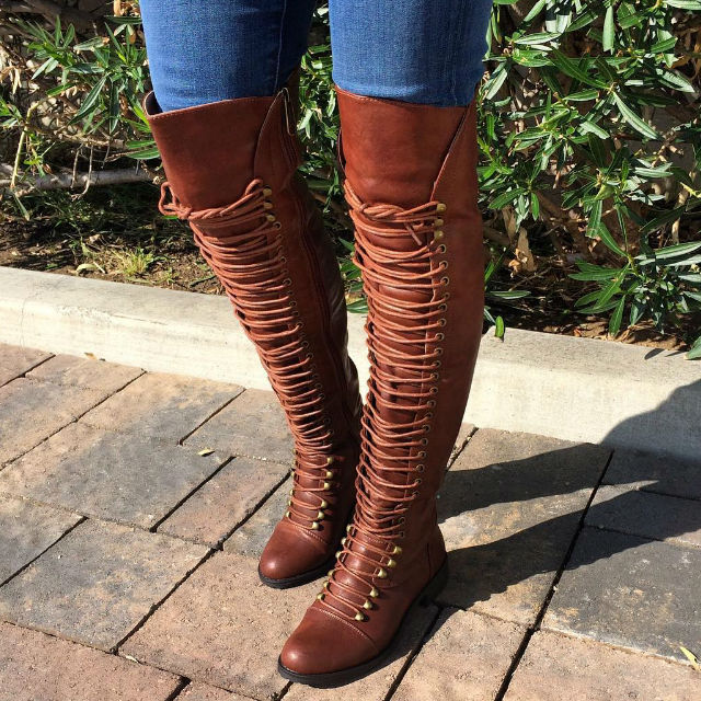 Cheap Thigh High Flat Boots - Cr Boot