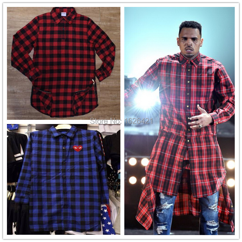 2015 hiphop men cool kanye west red plaid flannel long for Flannel checked long sleeve shirt