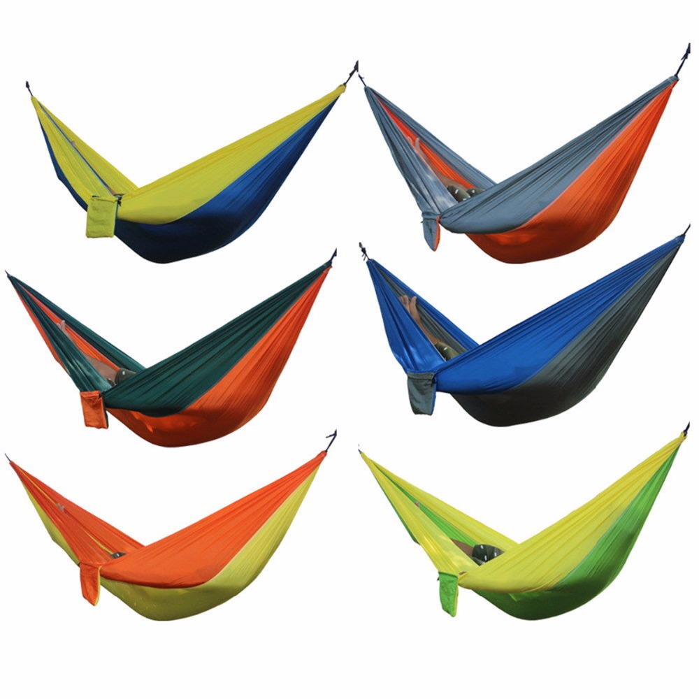 Nosii Portable Hammock Double Person Camping Garden Hunting Leisure Travel Furniture Parachute Hammock Outdoor Bed Tool Swing 300 200cm 2 people hammock 2018 camping survival garden hunting leisure travel double person portable parachute hammocks
