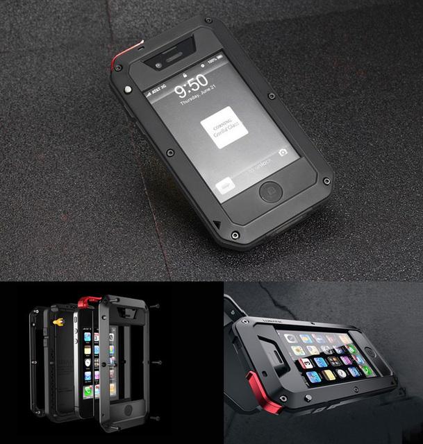 4/4S sujeira choque de borracha à prova de choque à prova d' água de metal de alumínio de luxo phone case para iphone 4 4s hard case capa