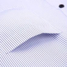Striped Men Dress Shirt White-collar Design Formal Fashion Long Sleeve Business Men Casual Shirt Regular Fit Plus Size 7XL 8XL