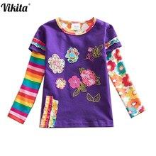 ФОТО retail neat brand 2015 new kid t-shirt girl roupa infantil long sleeve t shirt child clothing wear peppa pig neat lace dot l220
