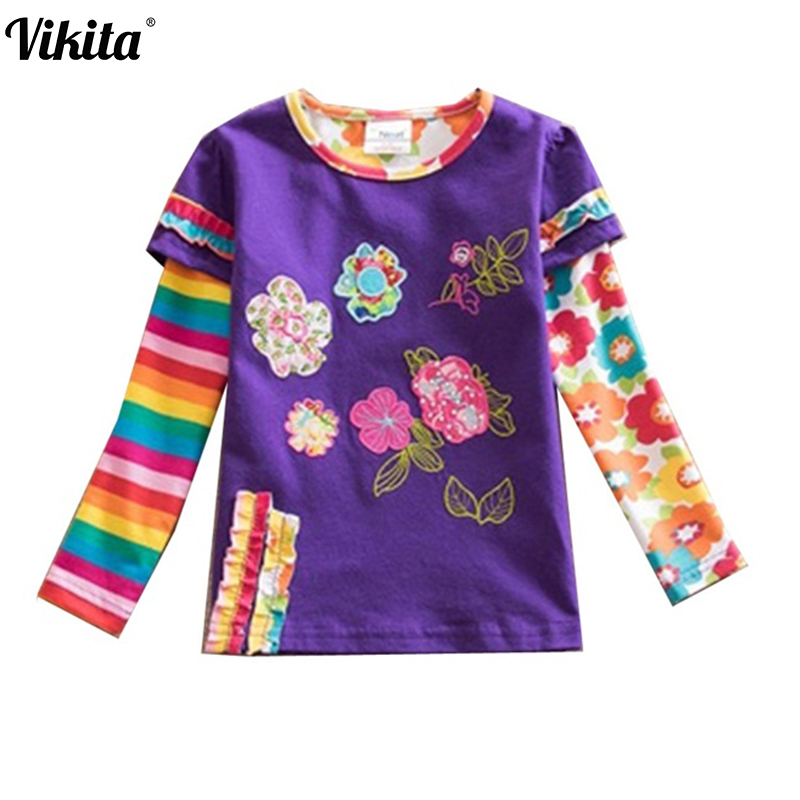 VIKITA Brand Children t Shirts Kids Flower t-shirt Girls Long Sleeve Tops Girls T Shirt Child Clothing Kids Shirts L220 Mix brand 2017 fashion male shirt long sleeves tops high quality simple shirt mens dress shirts slim men shirt