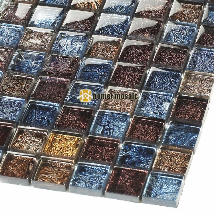 Symphony Deep Blue And Brown Crystal Glass Mosaic Tiles HMGM2048 For Kitchen Backsplash Bathroom
