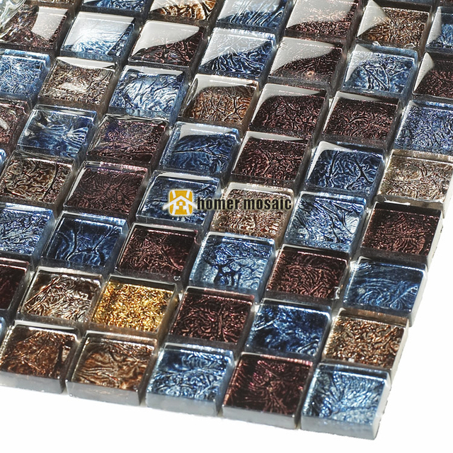Blue And Chocolate Bathroom: Symphony Deep Blue And Brown Crystal Glass Mosaic Tiles