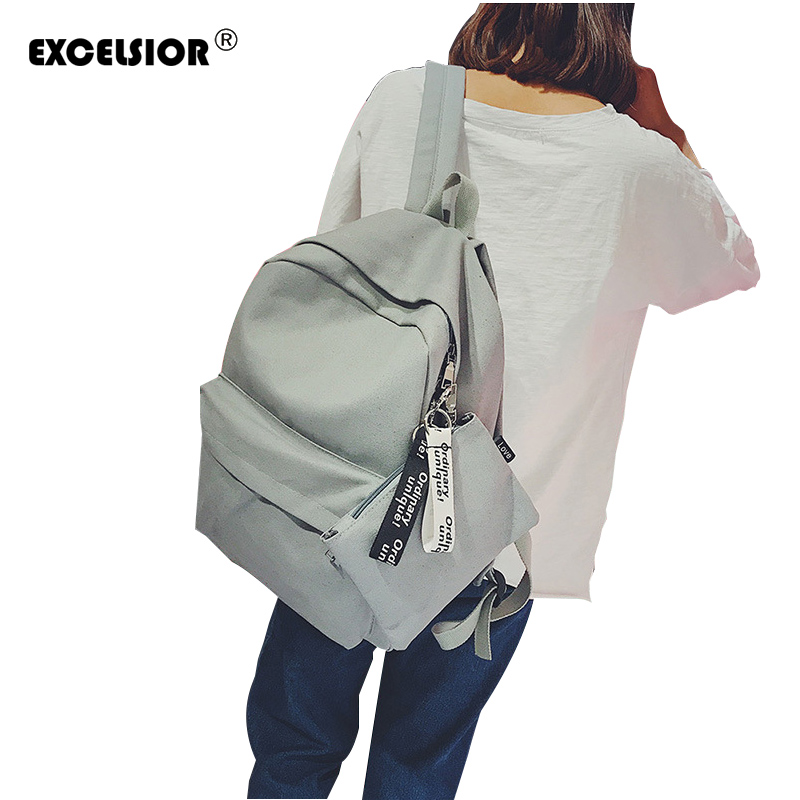 EXCELSIOR Women Canvas Backpacks Women Fashion School Backpacks for Teenage Girls 2 Pcs se Rucksack Bagpack