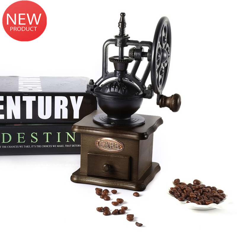 Manual Coffee Grinder Retro Style Wooden Coffee Bean Mill Grinding Ferris Wheel Design Hand Coffee Vintage Maker Kitchen ToolsManual Coffee Grinder Retro Style Wooden Coffee Bean Mill Grinding Ferris Wheel Design Hand Coffee Vintage Maker Kitchen Tools