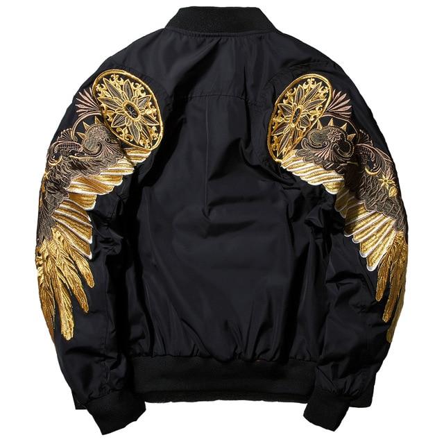 2018 Nieuwe Mode Herfst Mannen Jassen Vleugels Borduurwerk Zwarte Jas Mannelijke Toevallige Stand Kraag Bomberjack Mannen Streetwear Overjas